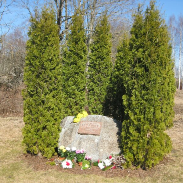 The memorial stone in the place of the family house of the painter Leo Kokle